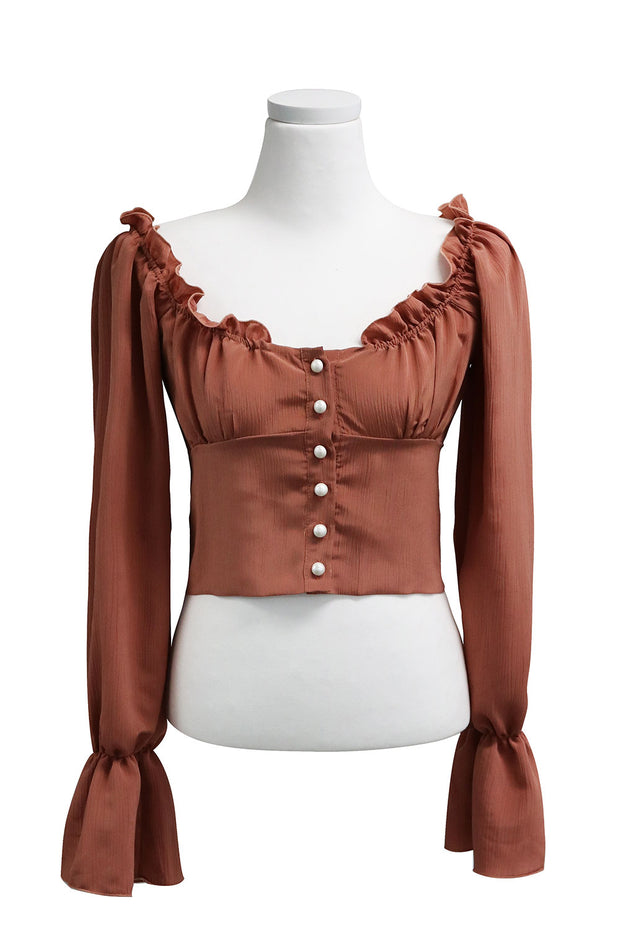 Rowan Ruffle Neck Crop Blouse
