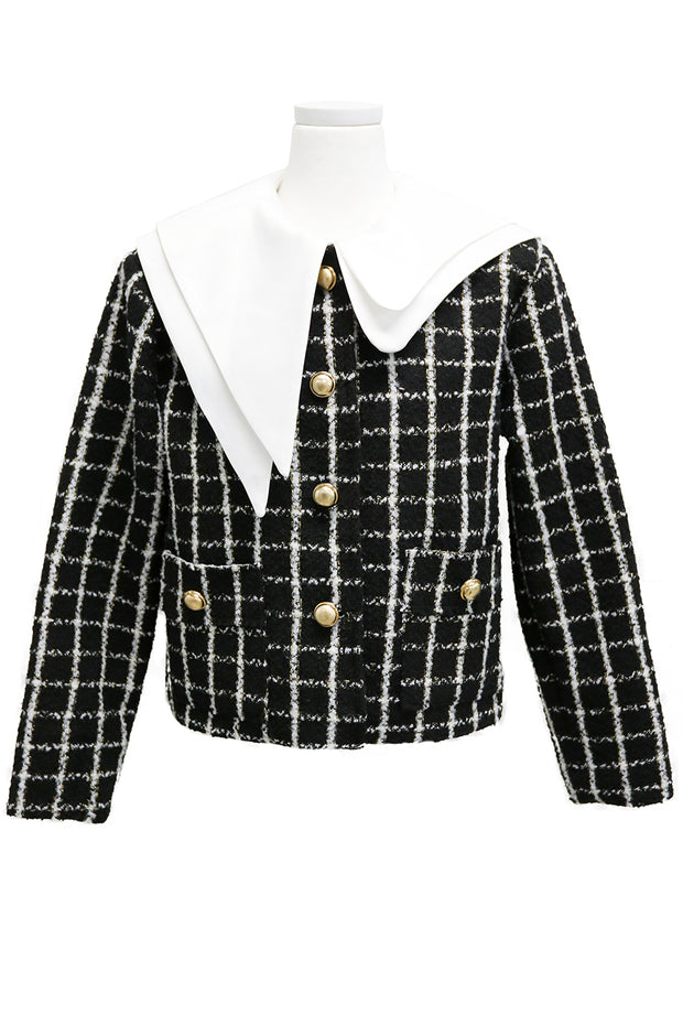 Ann Asymmetric Collar Boucle Jacket