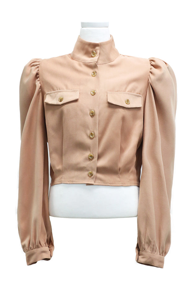 Melissa Puff Sleeve Cropped Blouse
