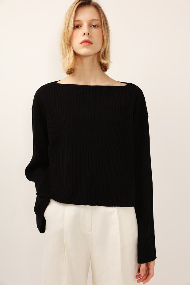 Vera Boat Neck Ribbed Knit Top