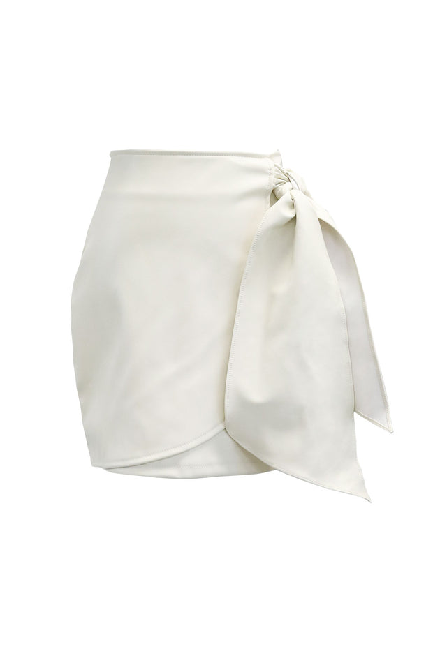Bailey Tie Wrap Pleather Skirt