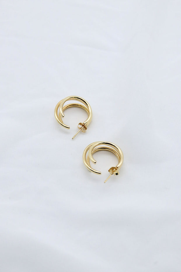 storets.com Gold Triple Hoop Earrings
