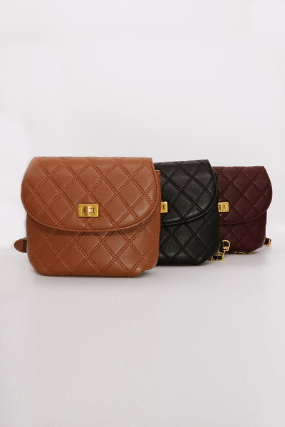 Quilted Pleather Chain Bag