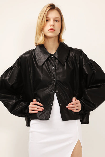 Mia Puff Sleeve Pleather Jacket