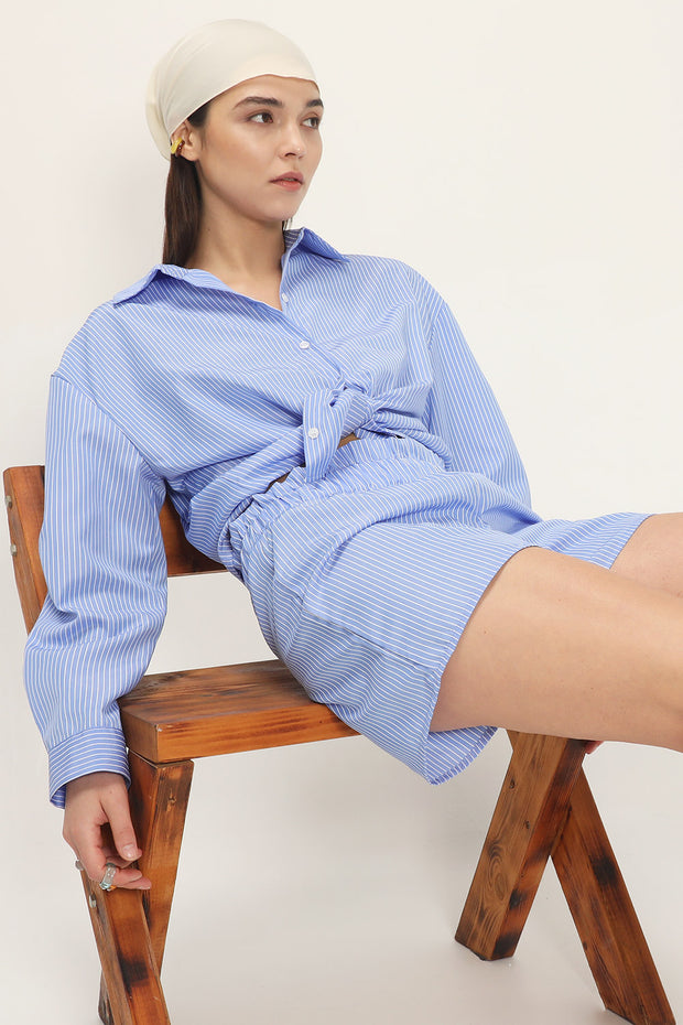 storets.com Frank Pin Striped Shirt And Shorts Set