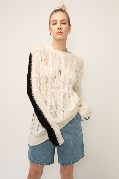 Aubrey Color Block Cable Knit Sweater