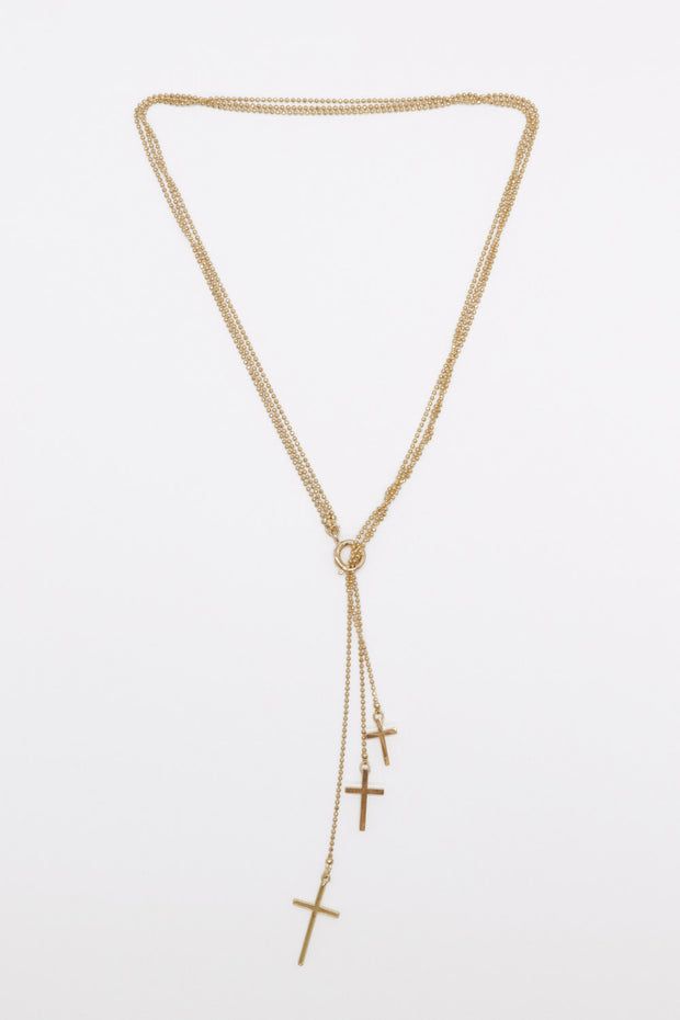 Triple Cross Layered Necklace