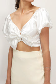 storets.com Alisson Ribbon Satin Crop Top
