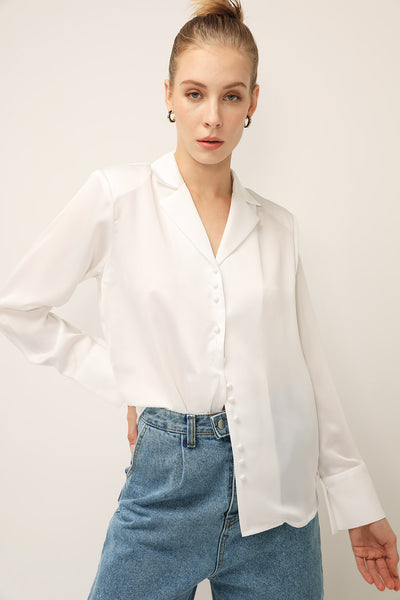 storets.com Bella Wide Cuff Satin Shirt