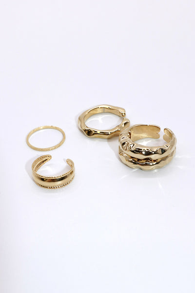 Hammered Ring 4-Piece Set