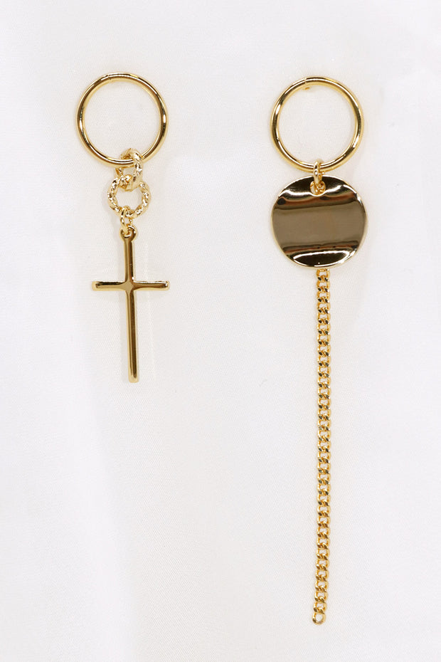 Asymmetric Cross Chain Earrings