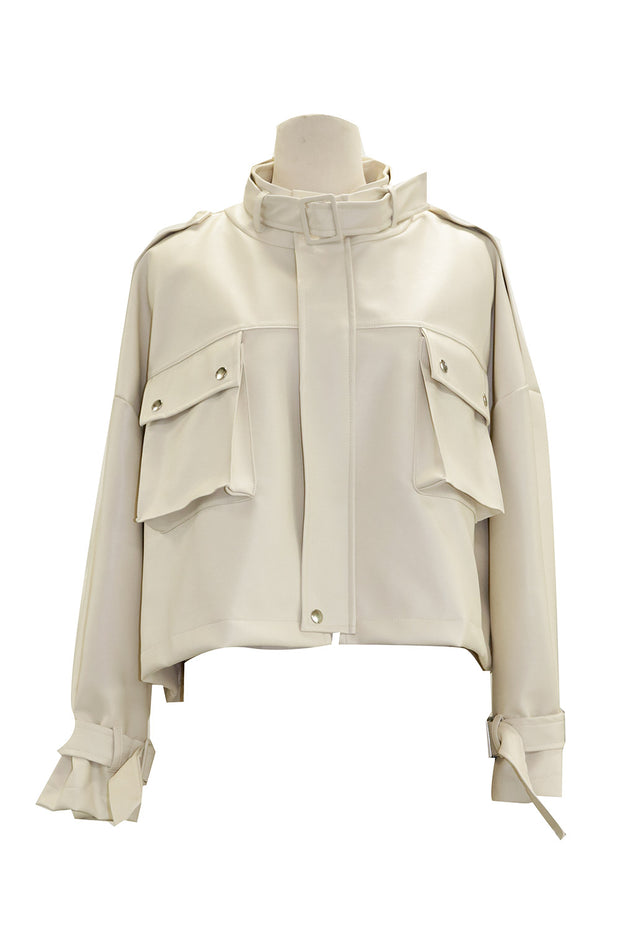 Norah Cropped Pleather Safari Jacket