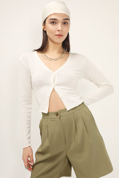 Kylie Linen Cropped Cardigan