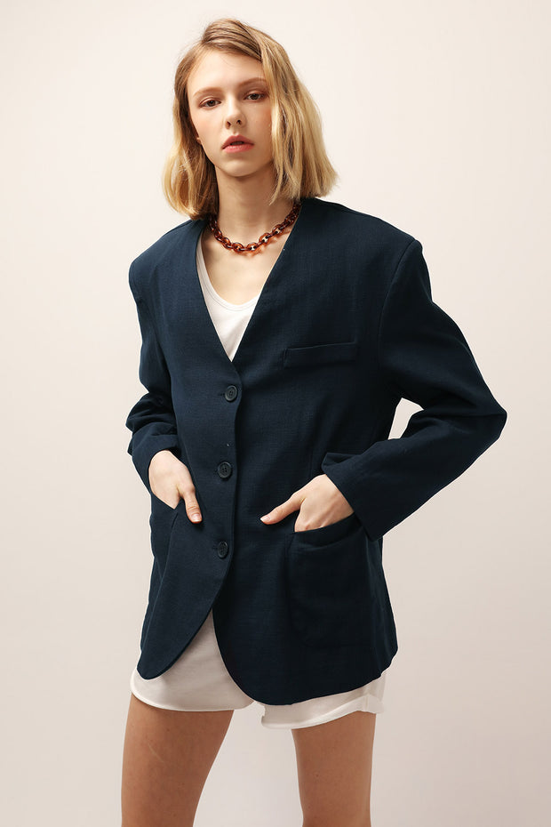 Emma Oversized Collarless Blazer
