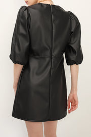 storets.com Emma Puff Sleeve Pleather Dress