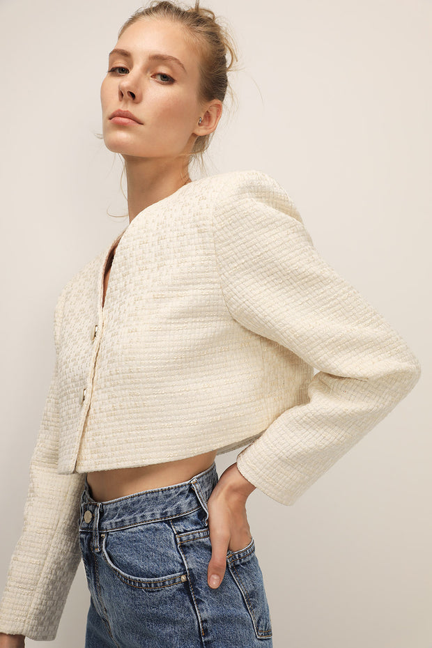 storets.com Evelynn Tweed Cropped Jacket