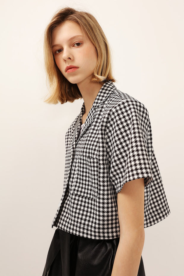 Mia Houndstooth Cropped Jacket