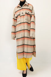 Adelynn Fuzzy Plaid Maxi Shacket