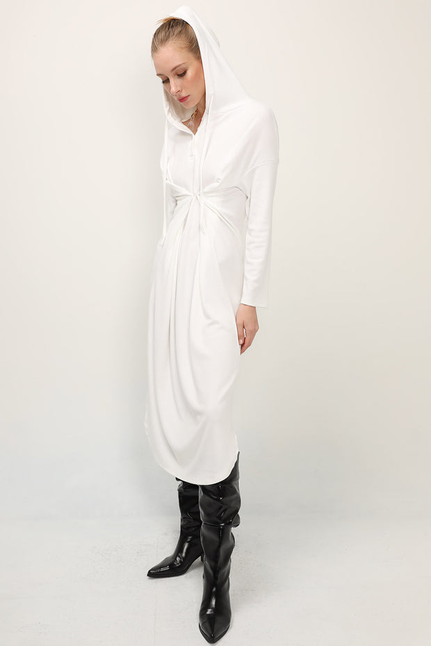 storets.com Luna Twist Front Hoodie Dress