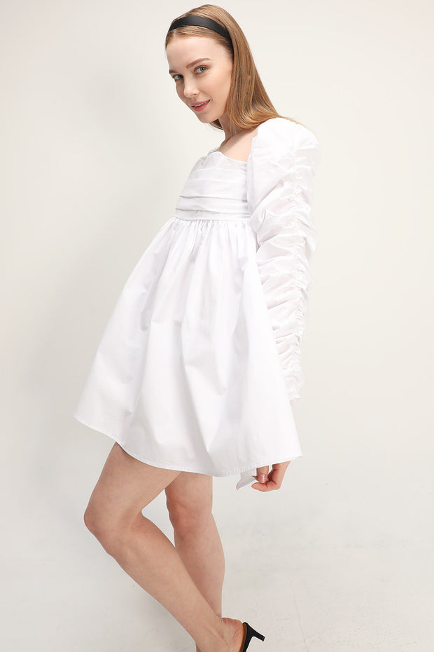 storets.com Jane Shirred Puff Sleeve Dress
