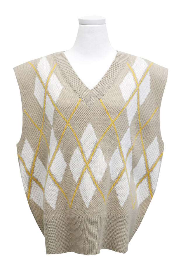 Hope Oversized Argyle Sweater Vest