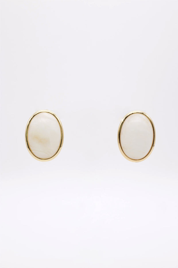 Golden Marble Stud Earrings