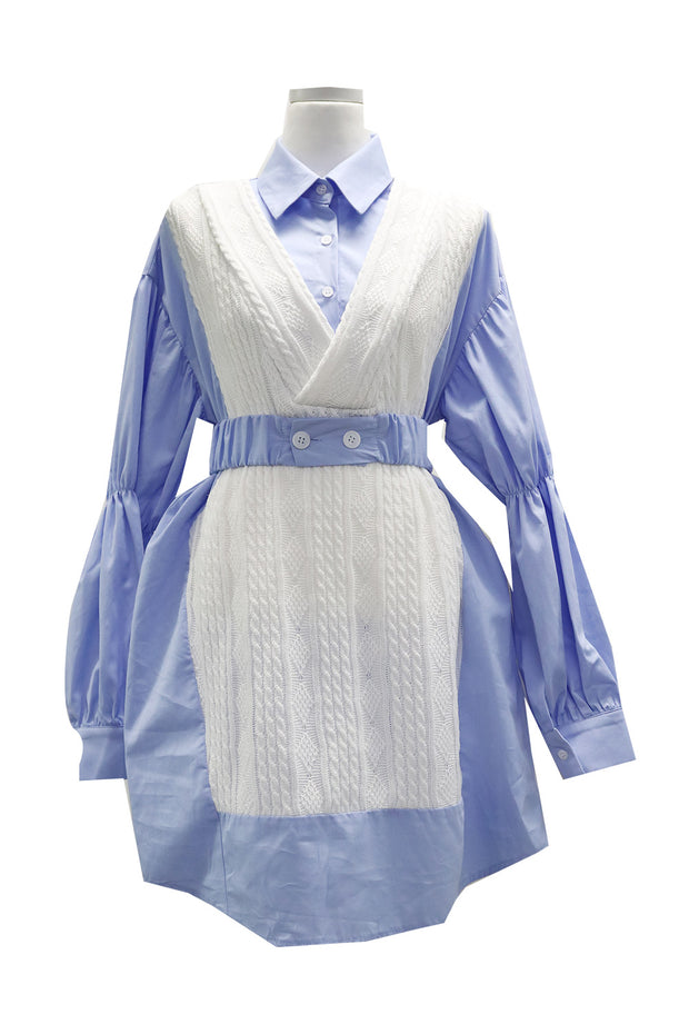Grace Knit Combo Shirt Dress
