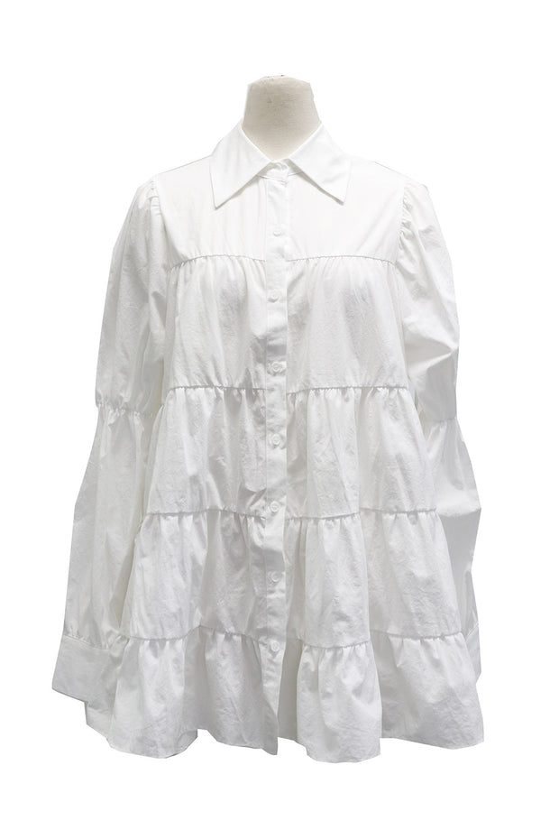 Claire Tiered Smocked Shirt Dress