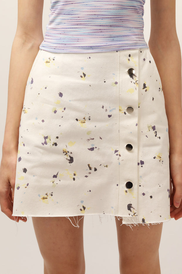 Ashley Painting Print Raw Edge Skirt