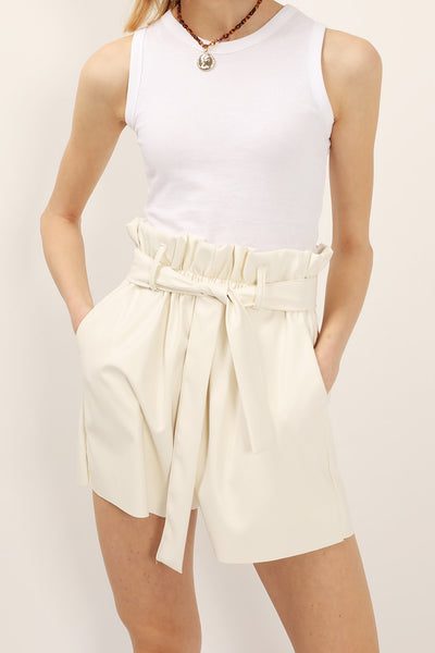 Margot Paperbag Pleather Shorts