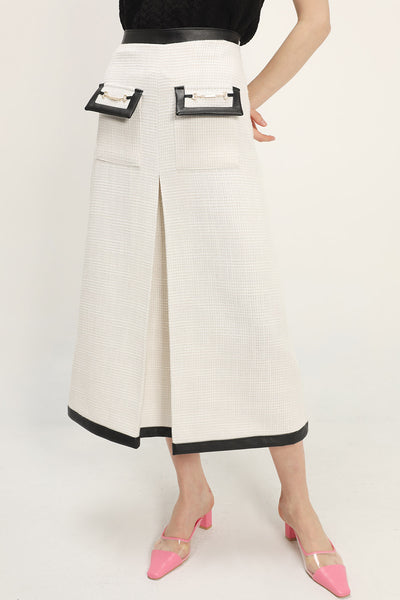 Ashley Contrast Trim Tweed Skirt