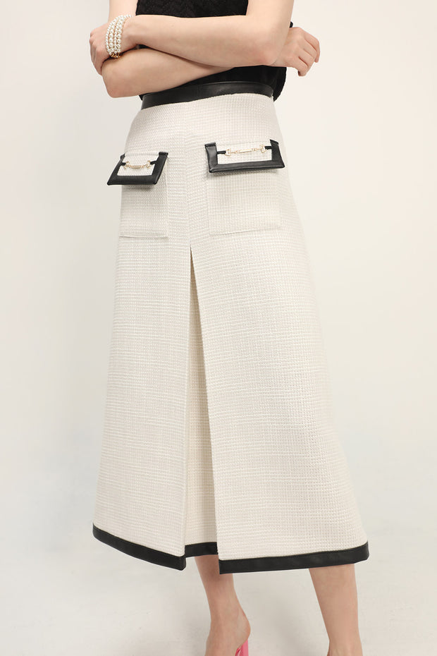 storets.com Ashley Contrast Trim Tweed Skirt