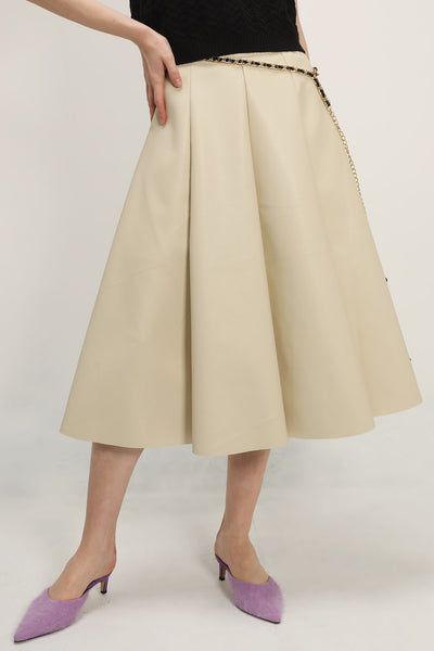Sara Pleather Flare Skirt