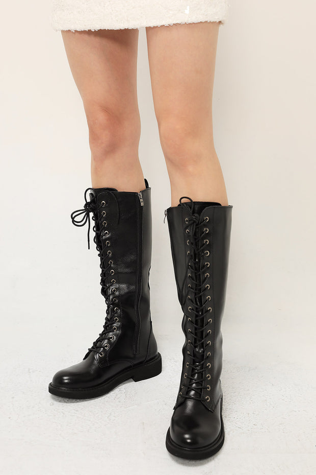 Knee-High Lace Up Boots