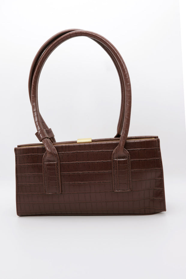 Croc Effect Pleather Tote Bag