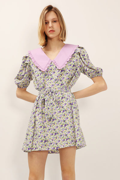 Jamie Contrast Collar Floral Dress