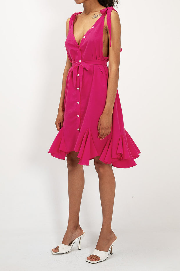 storets.com Sophia Belted Ruffle Dress