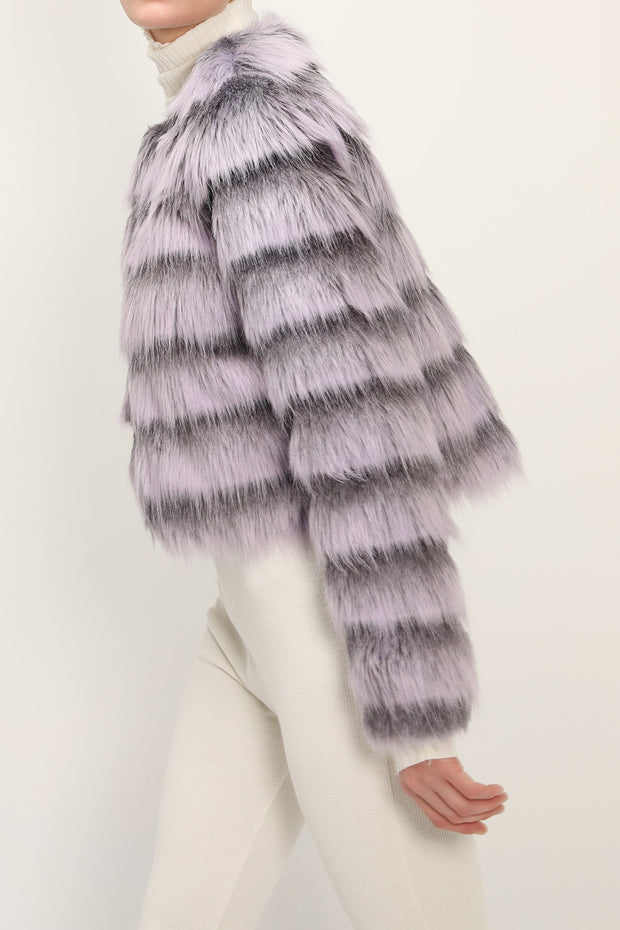 storets.com Melany Striped Cropped Faux Fur Jacket