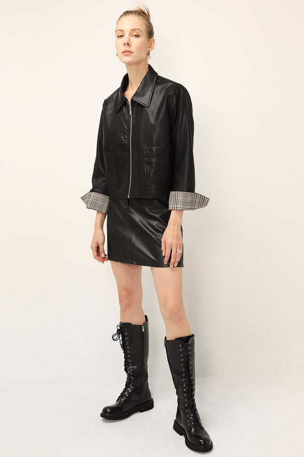 storets.com Claire Pleather Zip Up Jacket