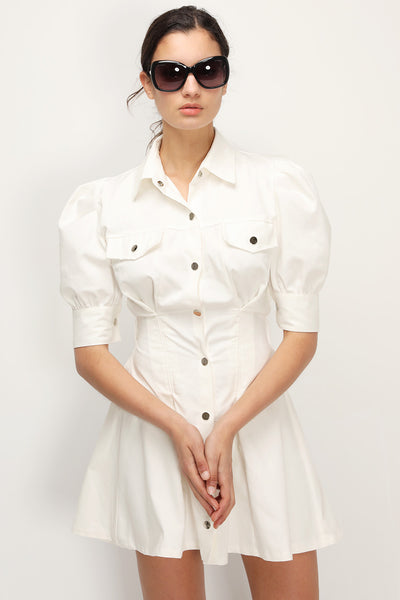 storets.com Jaycee Puff Sleeve Shirt Dress