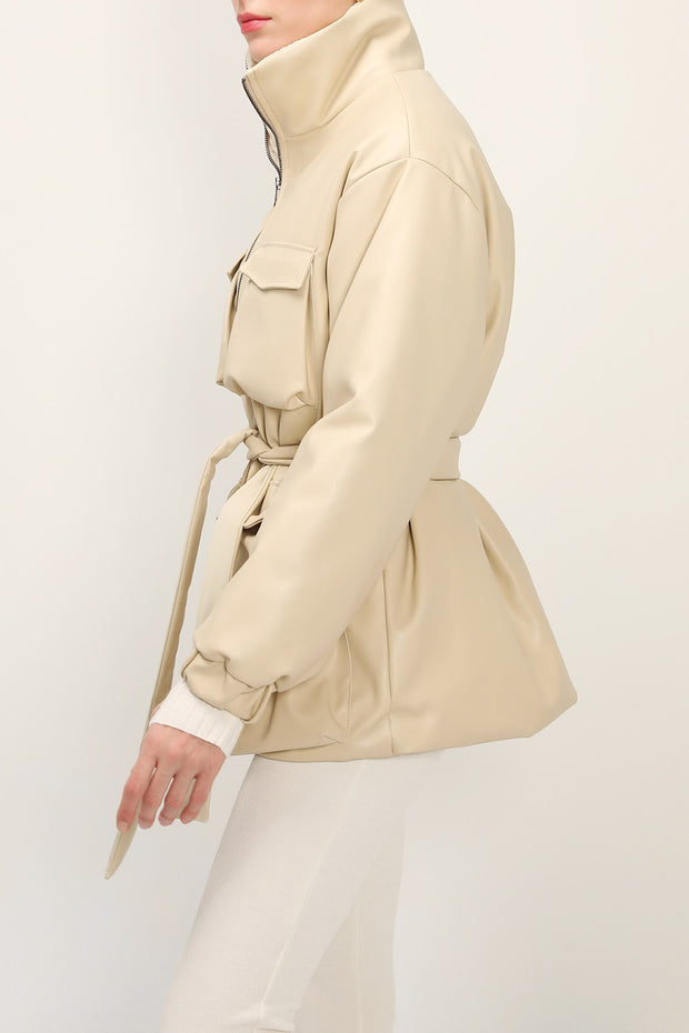 storets.com Emmalyn Belted Pleather Puffer Coat