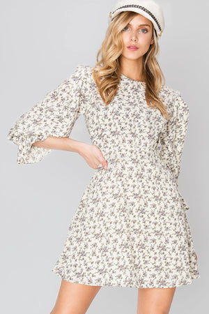 Ann Round Neck Floral Mini Dress