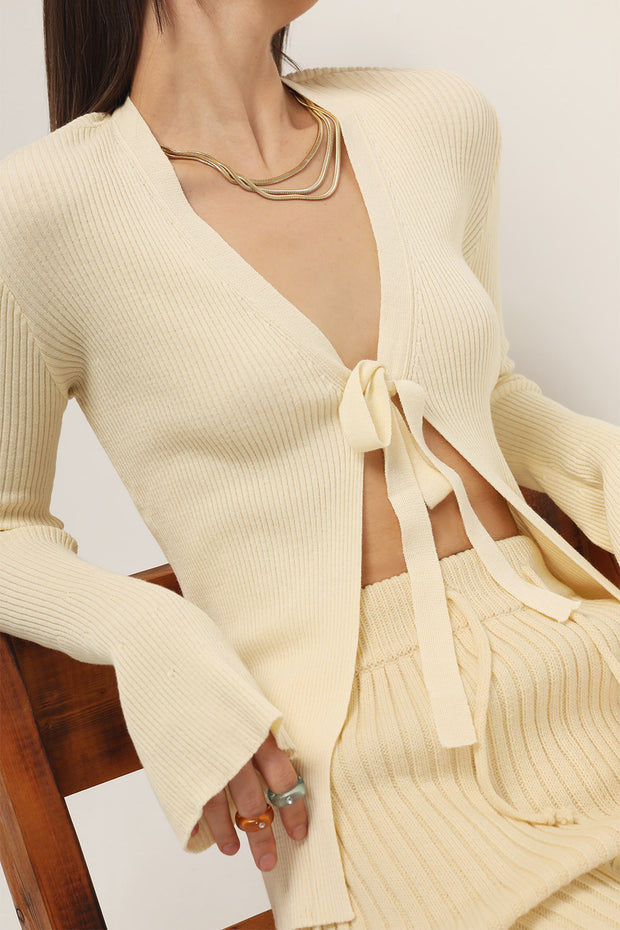 Bria Ribbed Knit Tie Cardigan