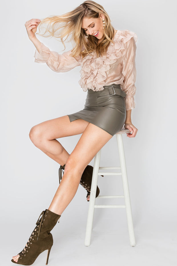 Dorothy Side Buckle Pleather Skirt-2 Colors
