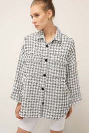 Finley Houndstooth Long Shirt Jacket
