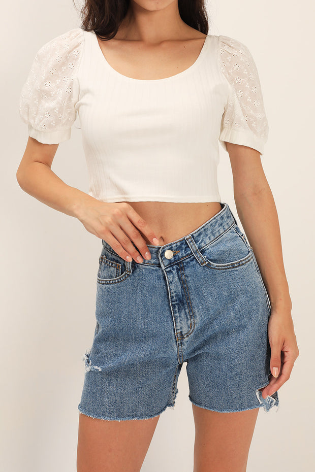 Noa Slash Side Denim Shorts