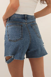 storets.com Noa Slash Side Denim Shorts