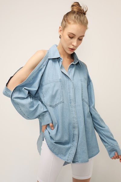 storets.com Faith Buttoned Sleeve Denim Shirt