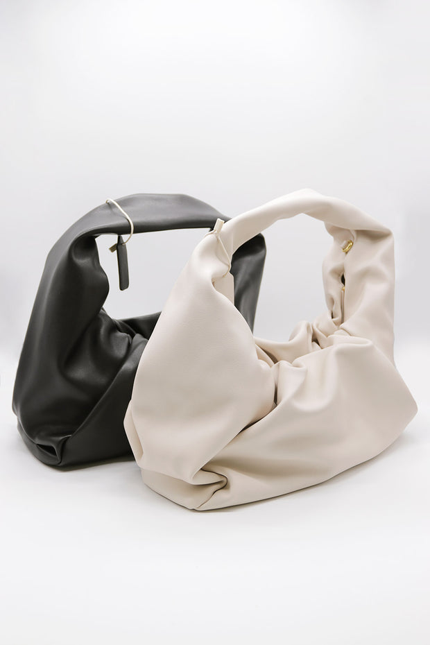 Ruched Detail Pleather Bag