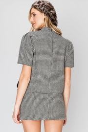 storets.com Half Neck Glen Check Top and Skirt